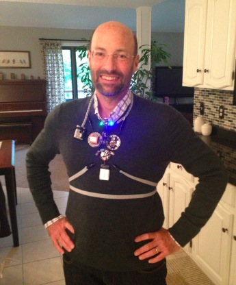 Inventor David Kuller wearing the Conscious ClothingTM winning prototype.