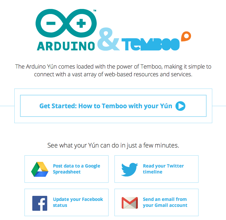 Temboo's special page for the Arduino Yún.