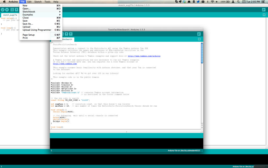 One of the Temboo examples in the Arduino IDE.