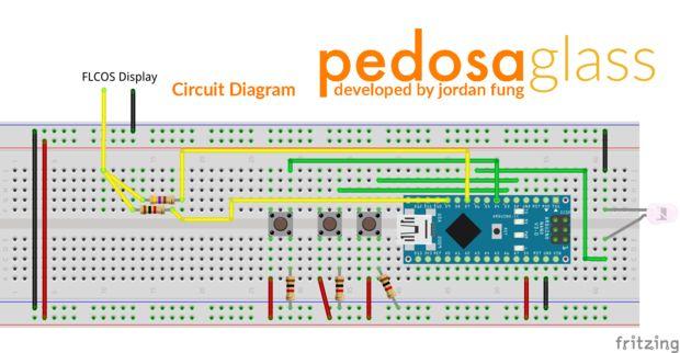 Arduino Nano chytré brýle - schéma zapojení