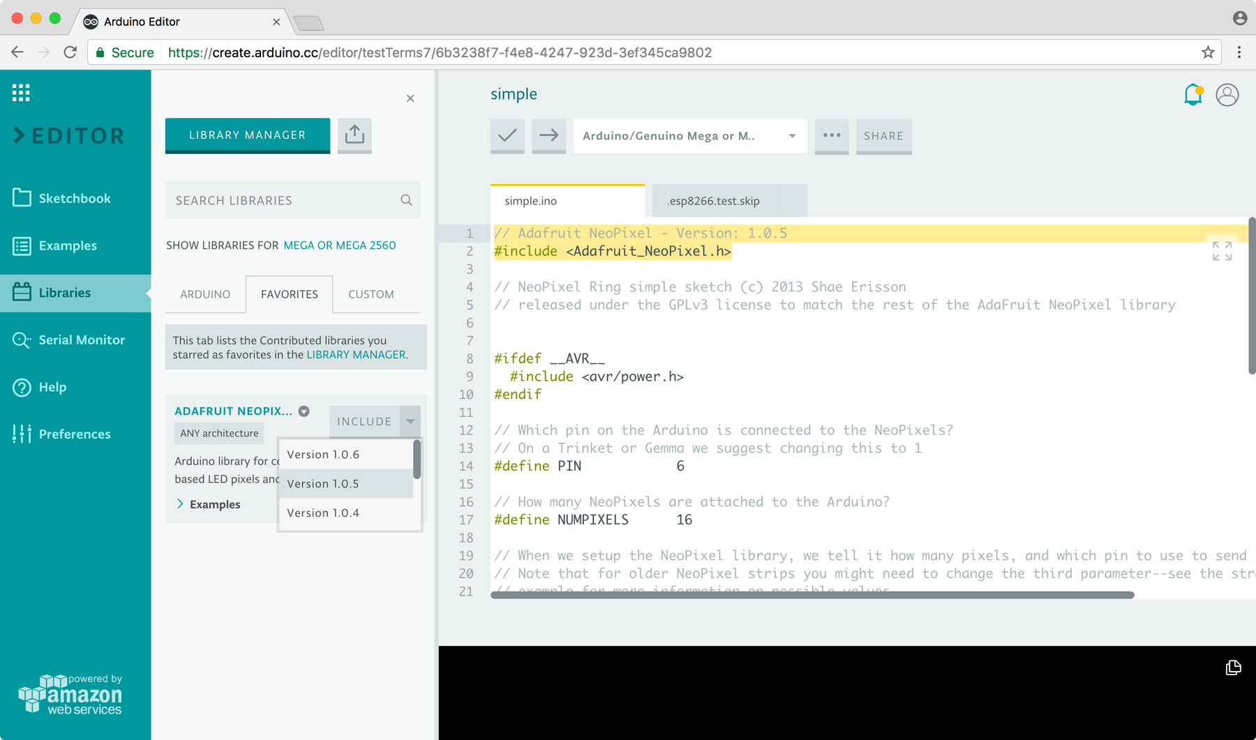 Arduino the library manager is now available on