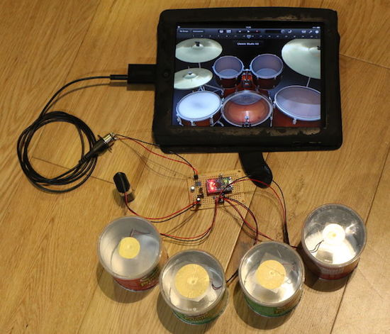 Arduino turn mini pringles cans into electronic drums