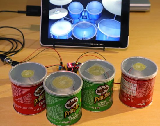 Diy drum kit planetarduino ever find yourself drumming on pringles cans with your fingers this hack adds a midi output to make it sound awesome solutioingenieria Image collections