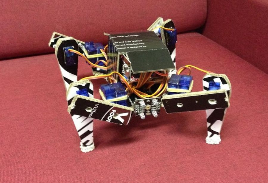 Arduino quadruped robot made entirely out of cardboard