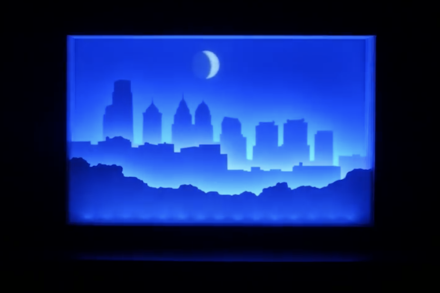 Paper-cut light box replicates the Philadelphia skyline and its actual moon phases