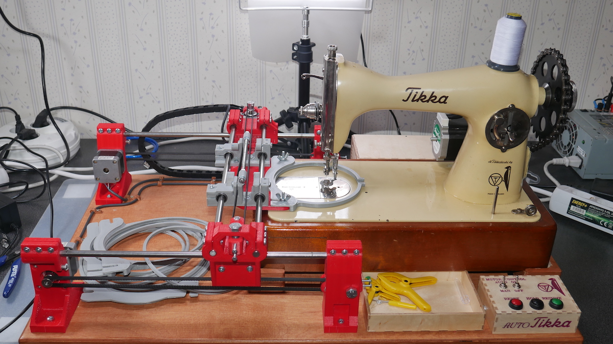 Upgrade a sewing machine into an automatic embroidery rig