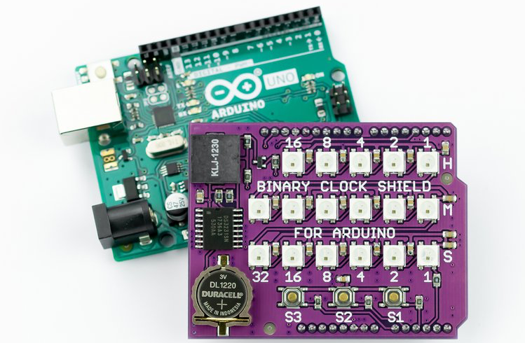 Arduino Blog » Build a fully functional binary clock with your Uno