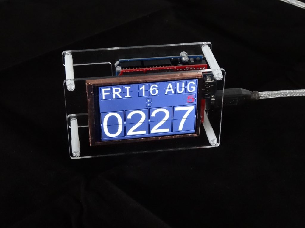 Simulating a flip clock on an Arduino-driven LCD screen