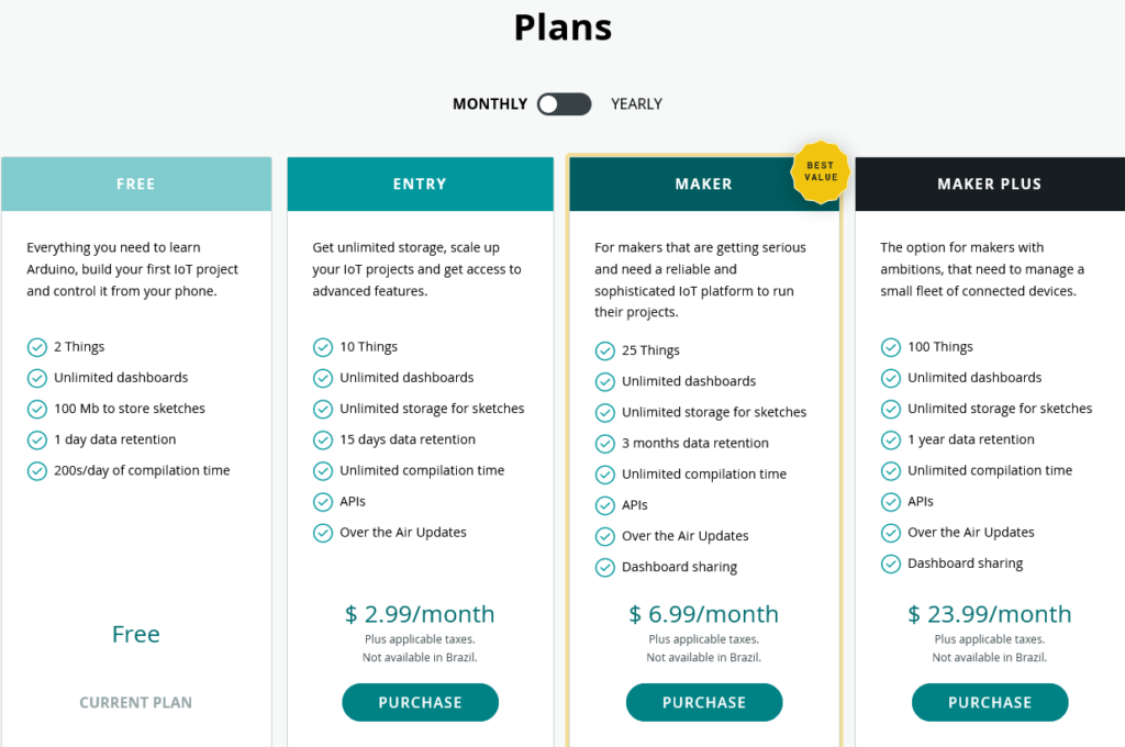 Choose Arduino Cloud Plan
