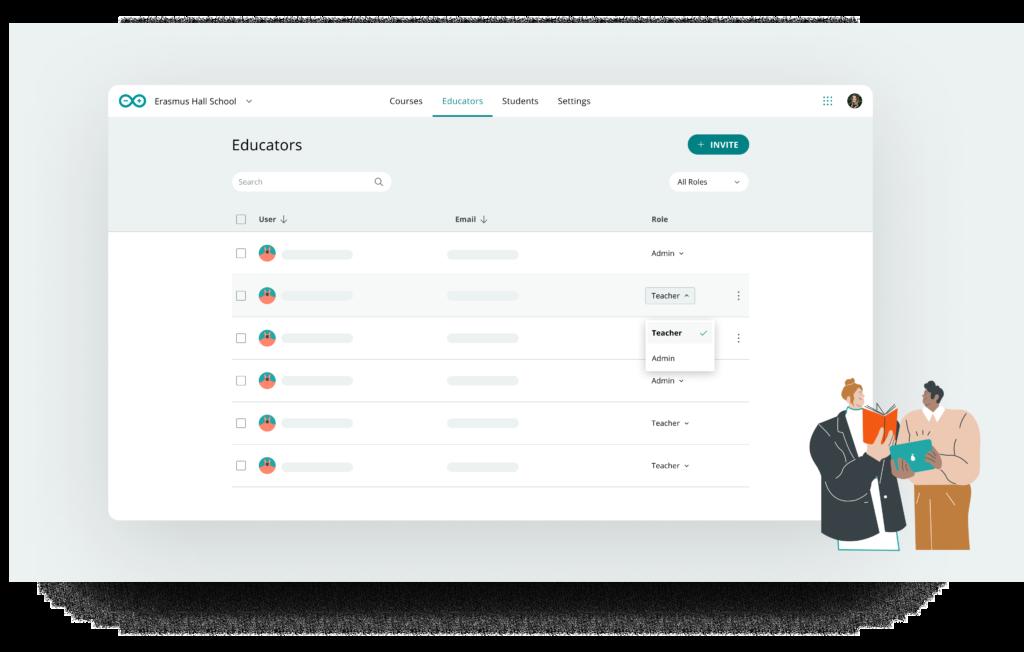 Teacher and admin roles in Arduino Classroom